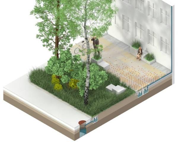 Copenhague - Climate Tile, projeto-piloto desenvolvido para aumentar a absorção de água da chuva na cidade em até 30%