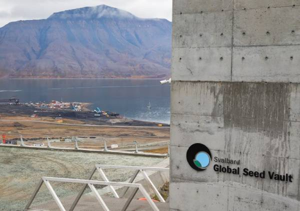 A entrada do Global Seed Vault em Svalbard.